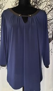 Cleo Navy Blue Chain Link Blouse